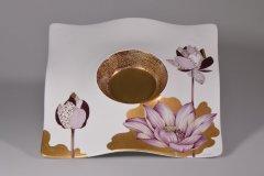 Porzellanmalen Lotti Haerdi  Schale Dahlie Schale gewellt Lotus